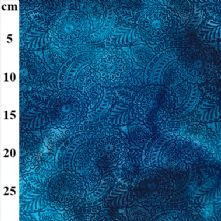Teal and Blue Fern Leaf Batik 100% Cotton Fabric x 0.5m